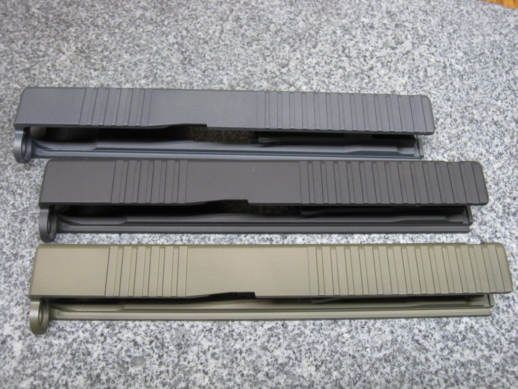 Moly resin colors/ Top: Magpul Stealth Grey, Middle: SOCOM Black, Bottom: Magpul OD Green.