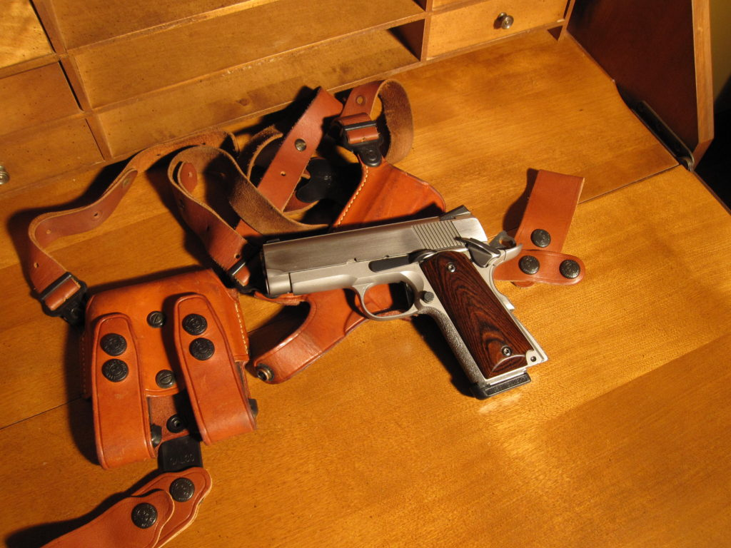 """Custom Colt Officers ACP and Galco """"Miami Classic"""" shoulder rig. All custom work done by Steve Jarrell"""